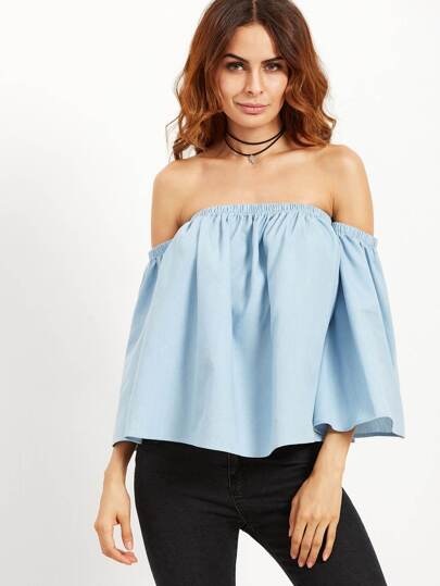 Blue Shirred Off The Shoulder Ruffle Blouse