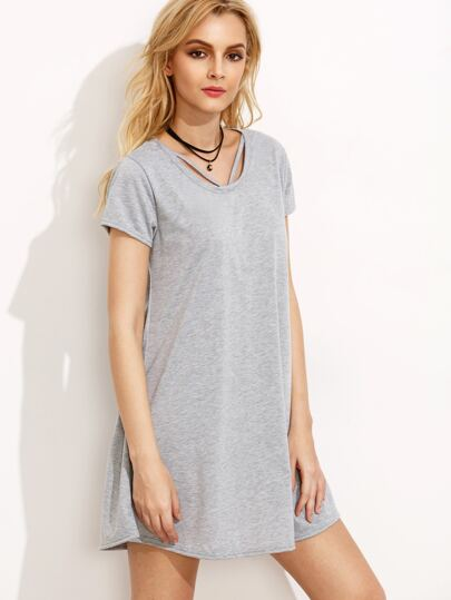 Grey Cut Out Tee Dress