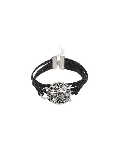 Black Leather Braided Metal Wolf Head Charm Bracelet
