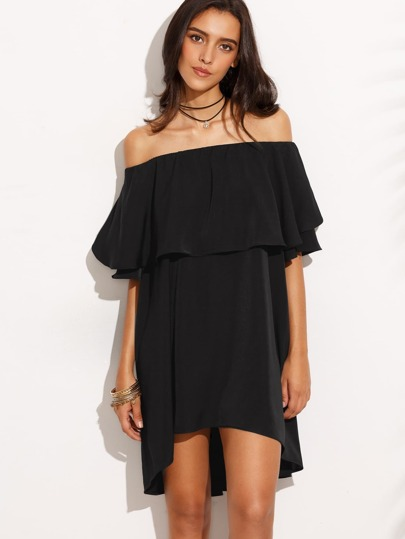 Off Shoulder Frill Dip Hem Dress