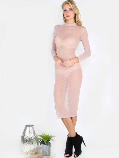 Mesh Midi Dress SAND