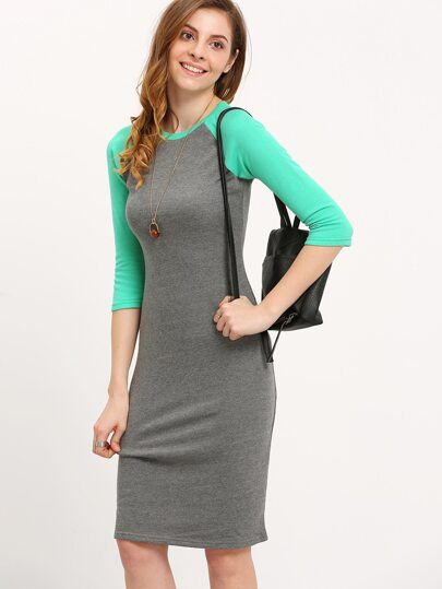 Grey Green Raglan Sleeve Midi Dress