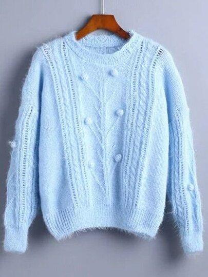 Blue Pompom Detail Drop Shoulder Sweater
