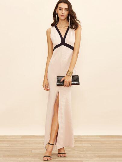 Apricot V Neck Slit Front Contrast Trim Maxi Dress