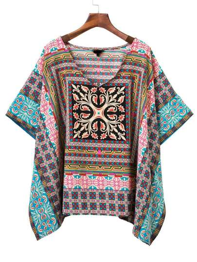 Multicolor Tribal Print V Neck Poncho Blouse