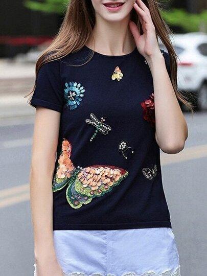 Navy Flowers Applique Beading Sequined Knit Sweatshirt