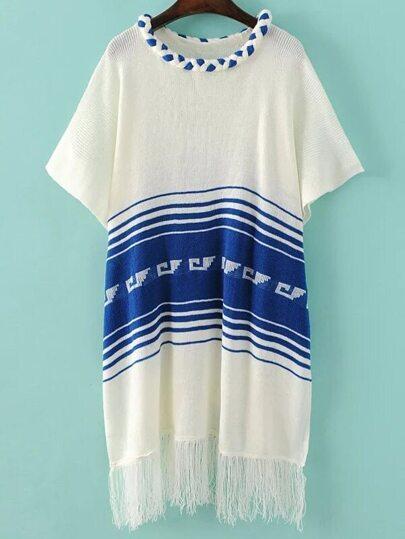White Striped Elbow Sleeve Fringe Poncho Sweater