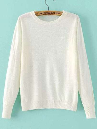 White Seagull Embroidered Ribbed Trim Knitwear