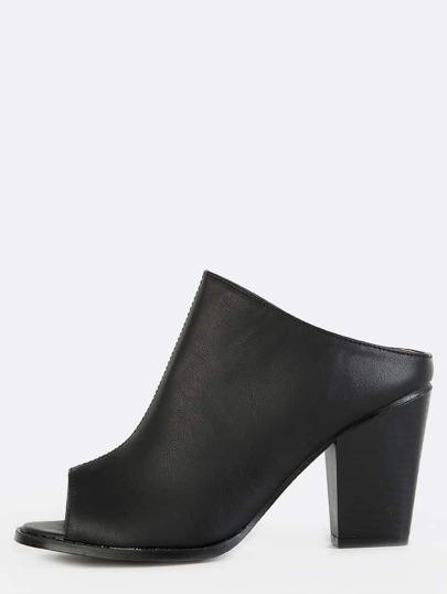 Peep Toe Block Heel Mules BLACK