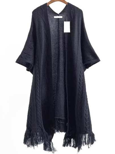 Black Fringe Hem Cable Knit Poncho Sweater