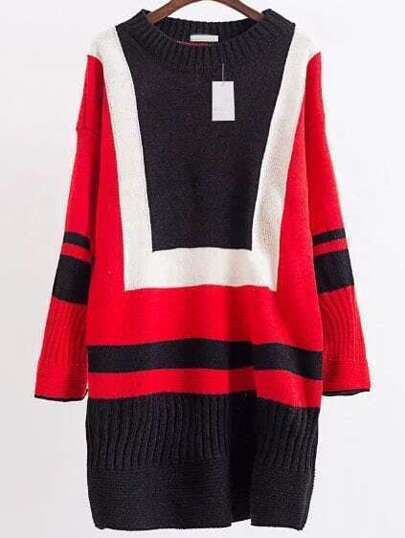 Red Color Block Drop Shoulder Sweater Dress
