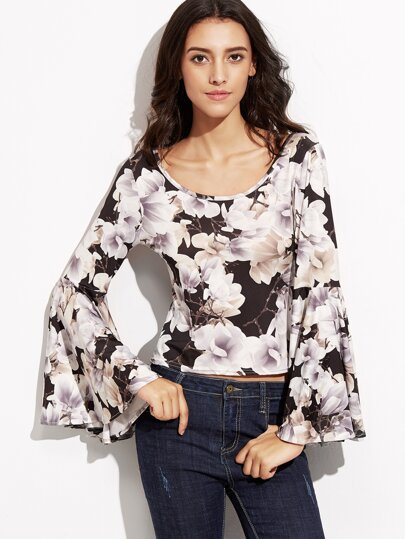Multicolor Floral Print Bell Sleeve Crop Top