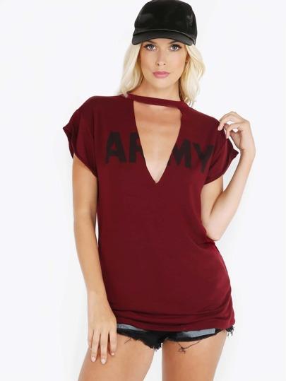 Raw Cut V Neck Army T-Shirt BURGUNDY