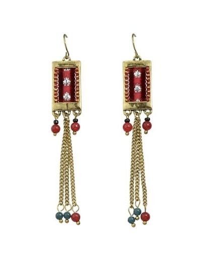Red Beads Long Chain Earrings