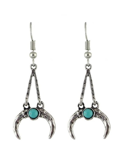 Antique Silver Vintage Design Moon Shape Long Pendant Earrings