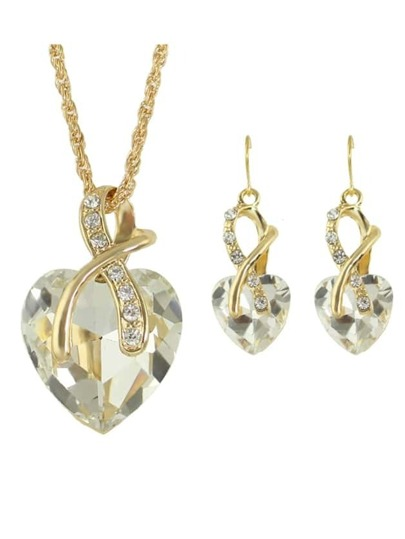 White New Colorful Rhinestone Heart Shape Pendant Necklace Earrings Set