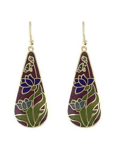 Winered Flower Drop Earrings