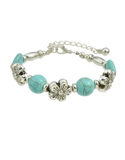 Blue Turquoise Adjustable Beads Bracelet