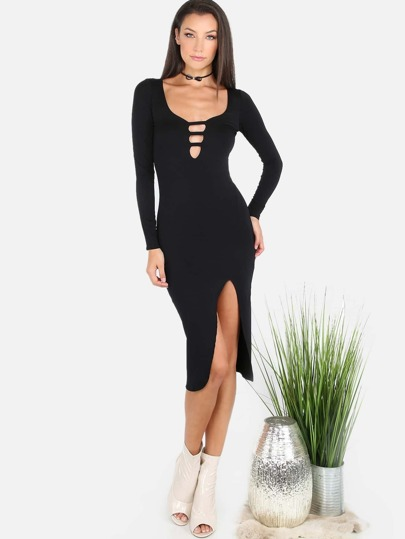 Sleeved Plunge Slit Dress BLACK