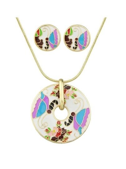 White Flower Butterfly Pattern Necklace Earrings Set