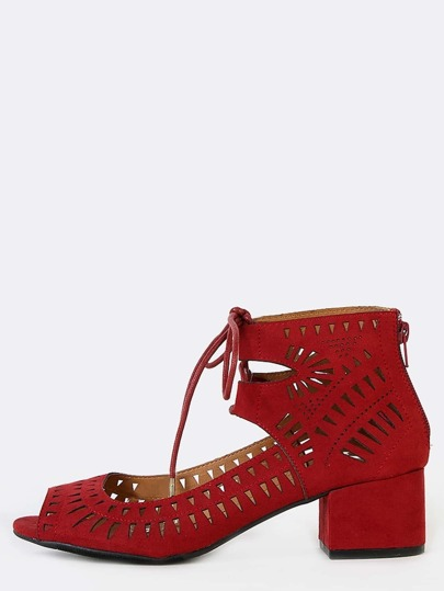 Suede Tribal Inspired Block Heels RED