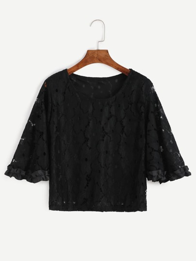 Black Crochet Lace Hollow Out Top