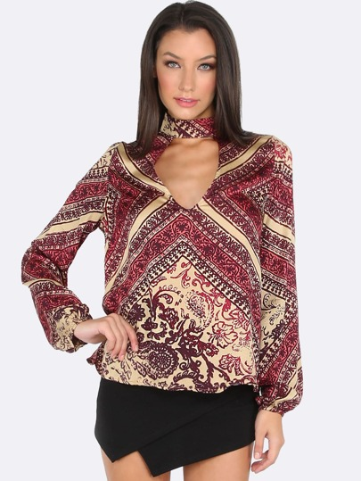 Deep V Neck Long Sleeve Printed Top MULTI