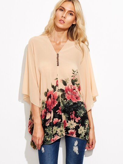 Apricot Flower Print V Neck Button Chiffon Blouse