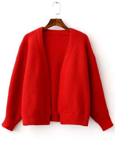 Red Open Front Drop Shoulder Ribbed Chunky Sweater Coat