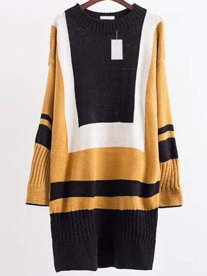 Khaki Color Block Drop Shoulder Sweater Dress