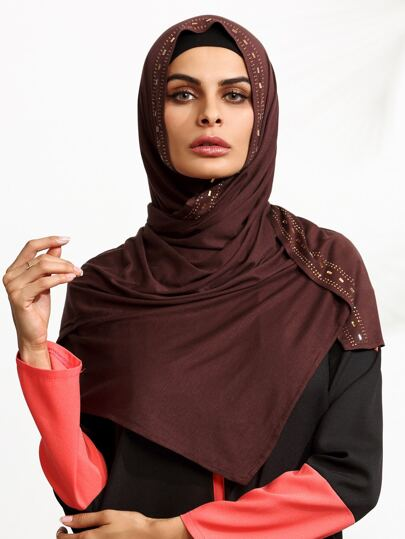 Кофейный шарф в арабском стиле