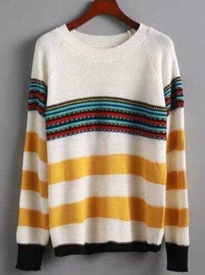 Multicolor Raglan Sleeve Striped Sweater