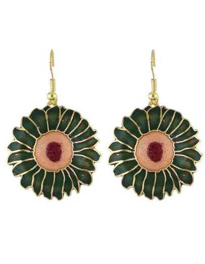 Green Enamel Big Flower Drop Earrings