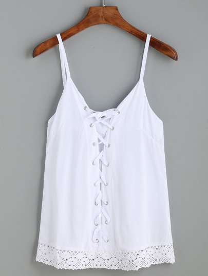 White Eyelet Lace Up Crochet Trimmed Cami Top