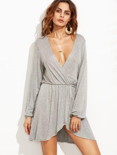 Grey Deep V Neck Asymmetrical Wrap Dress