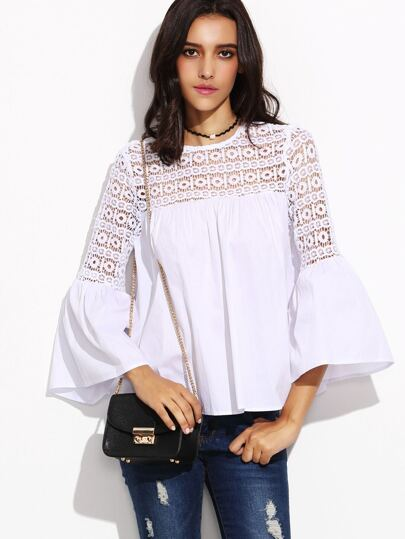 White Lace Insert Cutout Back Bell Sleeve Top