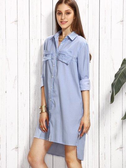 Blue Striped Bow Embellished High Low Shirt Dress