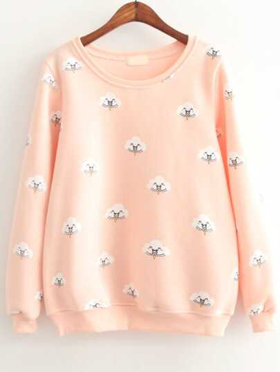 Pink Cloud Print Long Sleeve Sweatshirts