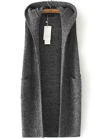 Grey Marled Knit Longline Hooded Vest