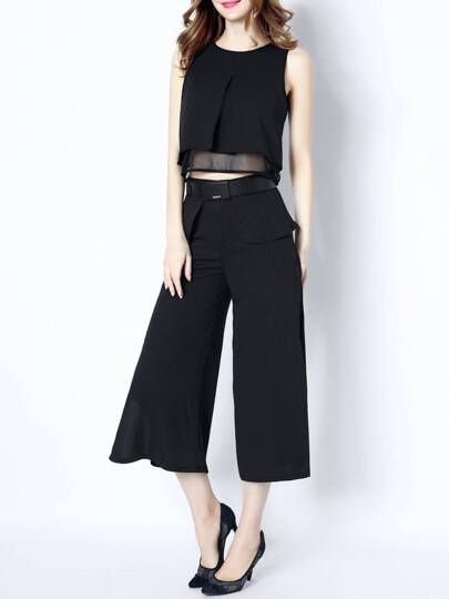 Black Elegance Top With Belted Pants
