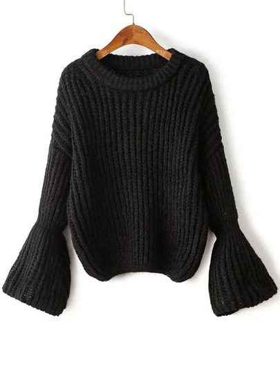 Black Drop Shoulder Lantern Sleeve Oversized Sweater