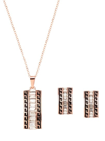Rose Gold Plated Crystal Geometric Jewelry Set