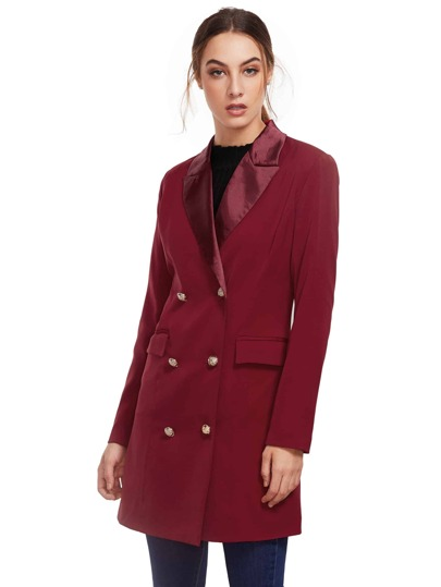 Burgundy Long Sleeve Lapel Dress