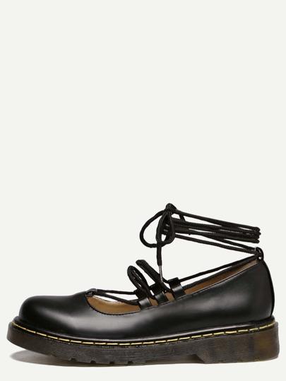 Chaussures plates en caoutchouc bout rond avec lacet - noir