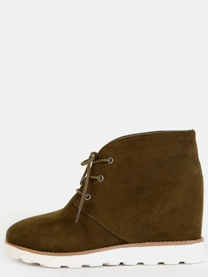 Faux Suede Wedge Boots FOREST GREEN
