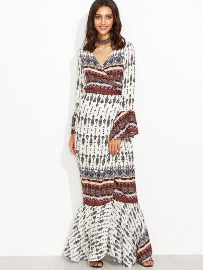 Tribal Print Wrap V Neck Bell Sleeve Mermaid Dress
