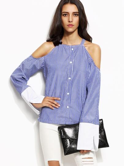 Blue Vertical Striped Cold Shoulder Contrast Cuff Top