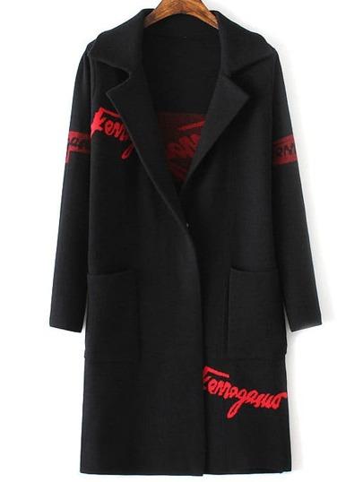 Black Letter Print Shawl Collar Pocket Long Sweater Coat