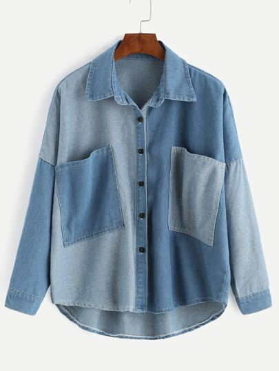 Color Block Drop Shoulder Patch Pocket Denim Coat