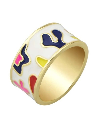 White Enamel Geometric Pattern Ring